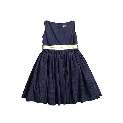 Vestido PAOLA BIMBI Azul Marinho Poá com Faixa Amarela