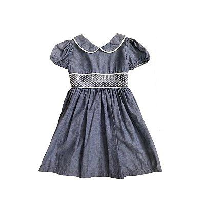Vestido Infantil Azul Jeans Casinha de Abelha