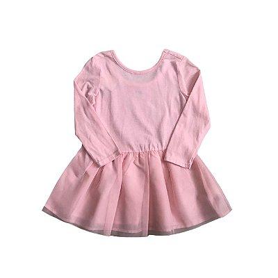 Vestido OLD NAVY Rosa Manga Longa com Tulê