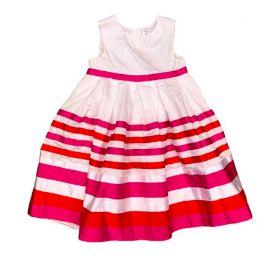 Vestido CARTER'S Branco com Listras Laranja e Pink Festa
