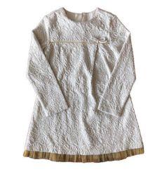 Vestido ZARA Infantil Off White com Dourado Manga Longa