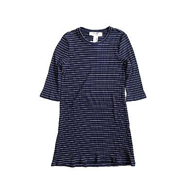 Vestido FOREVER 21 Infantil Azul Marinho e Branco Listrado Manga 3/4