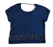 Blusa COSTUME Azul Marinho com Renda