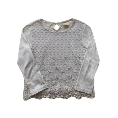 Blusa Zara Girls Manga Longa Off White com Renda