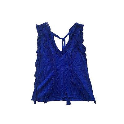 Blusa LAFORT Azul em Tricot com Babados