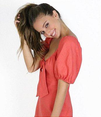 Vestido CAROL FARINA Laranja em Linho (com Etiqueta)