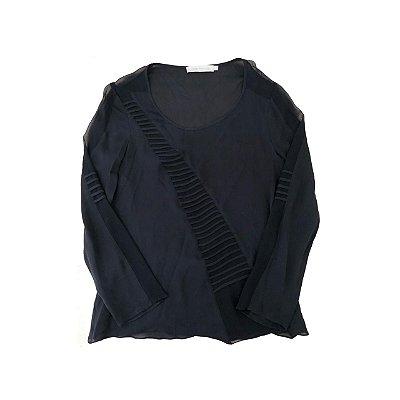 Camisa CRIS BARROS Preta em Seda Transparente