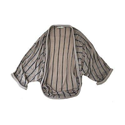 Kimono CRIS BARROS Cru com Listras Pretas em Tricô