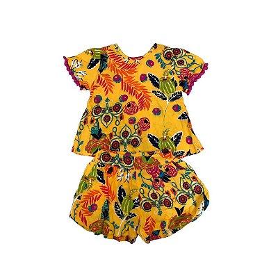 Conjunto Infantil MUNDO CÉU Amarelo Florido (Shorts e Blusa)