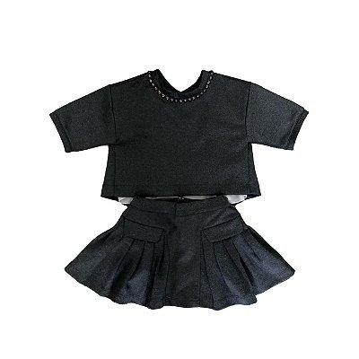 Conjunto TYROL Cinza Escuro (Saia e Blusa)