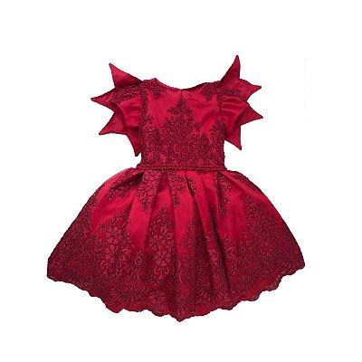 Vestido VIA FLORA Vermelho todo Bordado