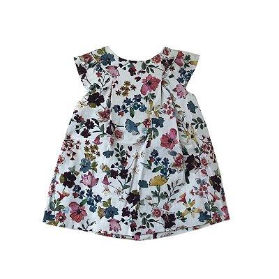 Vestido ZARA Infantil Creme com Flores