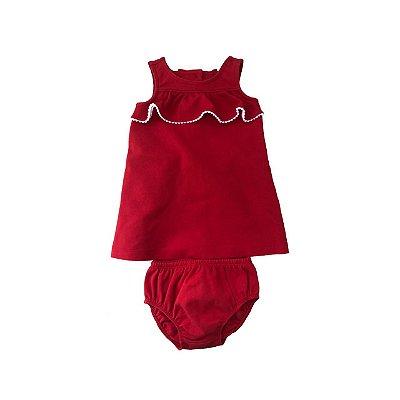 Vestido JANIE & JACK Vermelho com Calcinha
