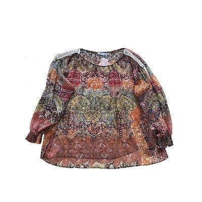 Blusa ZARA Estampada com Crochê nos Ombros