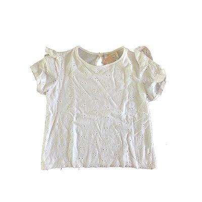 Camiseta Branca Laise com Babado na Manga