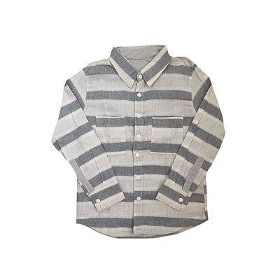 Camisa SPIRODIRO Linho Listrada Cinza e Branca