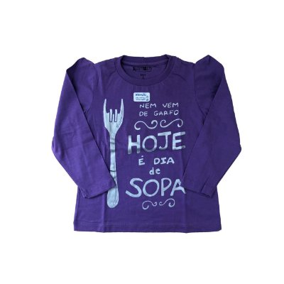 Camiseta SIRODIRO Lilás Hoje é Dia de Sopa (Manga Longa)