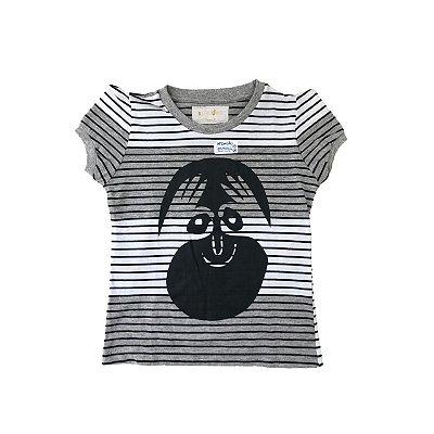 Camiseta SIRODIRO Branca e Cinza com Listras Pretas