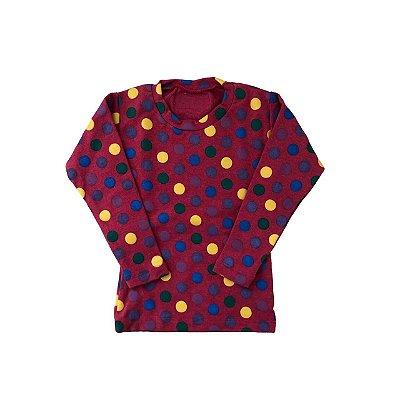 Camiseta SIRODIRO Vermelha com Bolinhas Coloridas Manga Longa