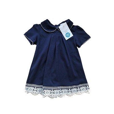 Vestido CACHE COEUR Azul Marinho com Barrado em Renda (Etiqueta)
