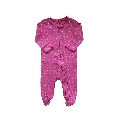 Macacão CARTER'S Pink com Bolinhas Brancas