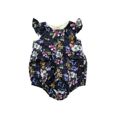 Romper BABY FASHION & FUN Preto com Flores