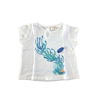 Camiseta Zara Baby Girls Branca Fundo do Mar