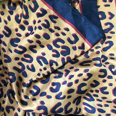 Lenço Animal Print Caque, Azul e Vinho