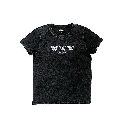 Camiseta HOLLISTER Preta Borboletas
