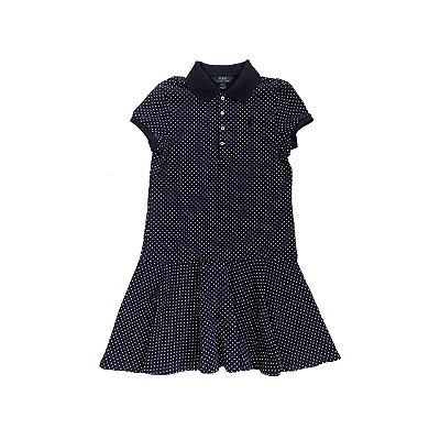 Vestido Polo RALPH LAUREN Infantil Azul Marinho com Poá