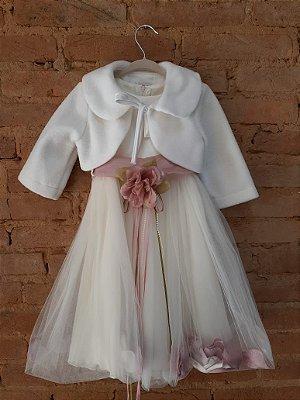 Vestido KIDS DREAM Off White com Cinto Rose e Casaquinho