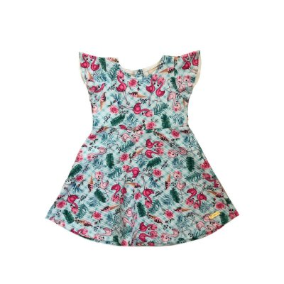 Vestido TIME KIDS Azul com Flamingos