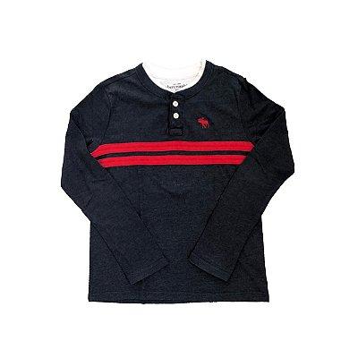 Camiseta ABERCROMBIE Azul Marinho com Listra Vermelha Manga Longa