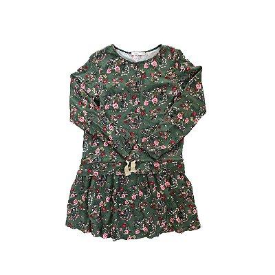 Vestido SFERA Infantil Verde Florido Manga Longa
