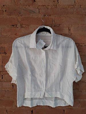 Camisa Cropped MAIS UM Feminina Branca Manga Curta