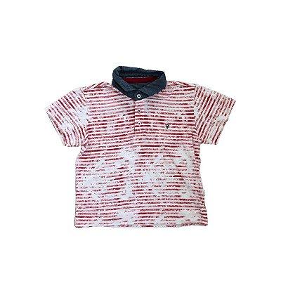 Camiseta Polo VR Infantil Branca e Vermelha