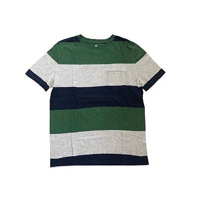 Camiseta GAP KIDS Azul, Verde e Cinza Listrada
