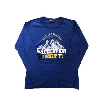 Camiseta TIGOR Infantil Azul Bic Manga Longa