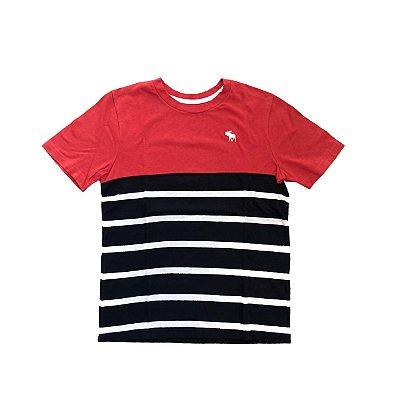 Camiseta ABERCROMBIE Infantil Vermelha com Listras Branca e Marinho