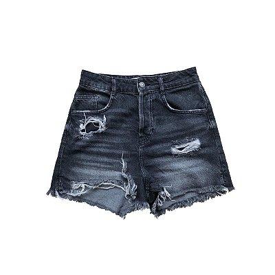 Shorts Jeans ZARA Preto Cintura Alta