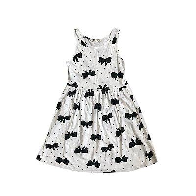 Vestido H&M Infantil Banco com Laços Pretos