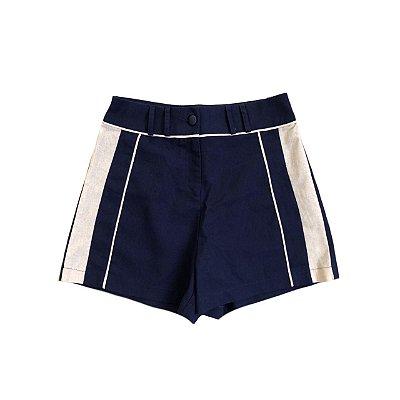 Shorts Alfaiataria DIDI Azul Marinho de Linho com Detalhe Lateral