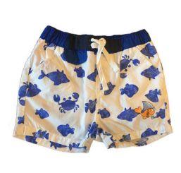Shorts CHICCO Branco com Peixes em Azul
