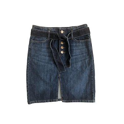 Saia Jeans Lulu Reta com Botões e Cinto