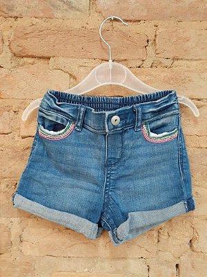 Shorts Jeans OSHKOSH com Detalhe no Bolso Colorido