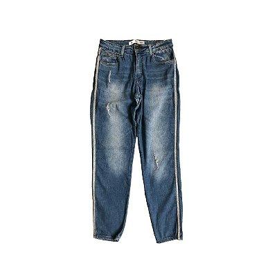 Calça YSC Feminina Jeans Claro com Brilho nas laterais