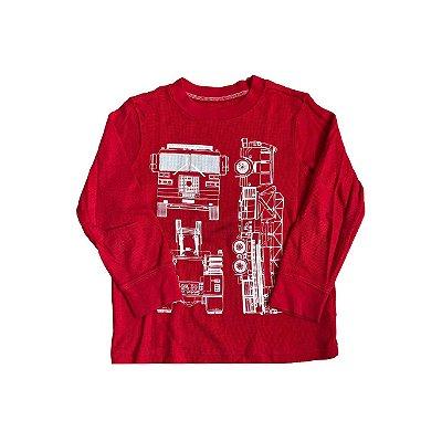Camiseta Manga Longa CARTER'S Vermelha Caminhão Bombeiro
