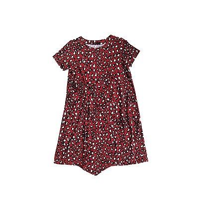 Vestido Malha Fria FIT NINA Infantil Vermelho Onça