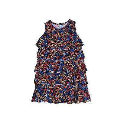 Vestido Malha Fria FIT NINA Infantil Babados Estampado