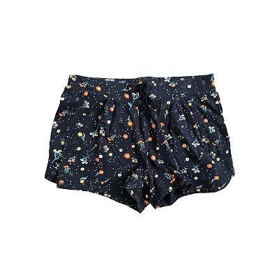 Shorts KIABI Infantil Algodão Azul Marinho Estampado